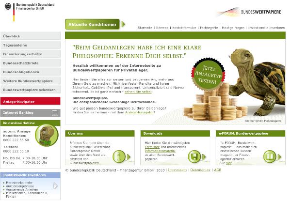 """Die """"Bundesrepublik Deutschland - Finanzagentur GmbH"""" wirbt im Internet für deutsche Staatsanleihen"""