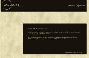 Aktuelle Website von Gold Wegner